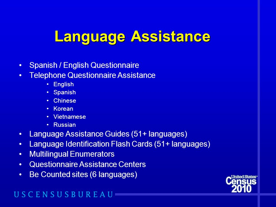 Language Assistance Spanish / English Questionnaire Telephone Questionnaire Assistance English Spanish Chinese Korean Vietnamese Russian Language Assi