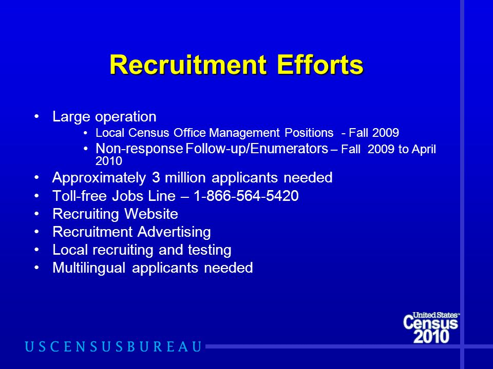 Recruitment Efforts Large operation Local Census Office Management Positions - Fall 2009 Non-response Follow-up/Enumerators – Fall 2009 to April 2010