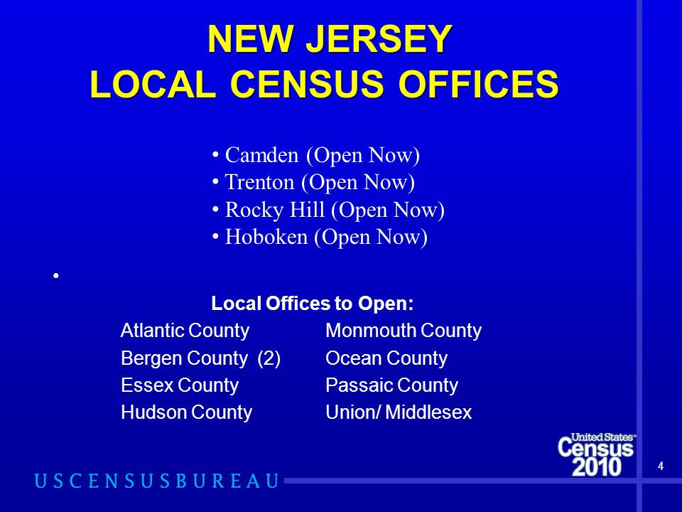 NEW JERSEY LOCAL CENSUS OFFICES Local Offices to Open: Atlantic County Monmouth County Bergen County(2) Ocean County Essex County Passaic County Hudson CountyUnion/ Middlesex 4 Camden (Open Now) Trenton (Open Now) Rocky Hill (Open Now) Hoboken (Open Now)