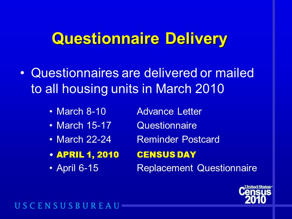 Questionnaire Delivery Questionnaire Delivery Questionnaires are delivered or mailed to all housing units in March 2010 March 8-10Advance Letter March