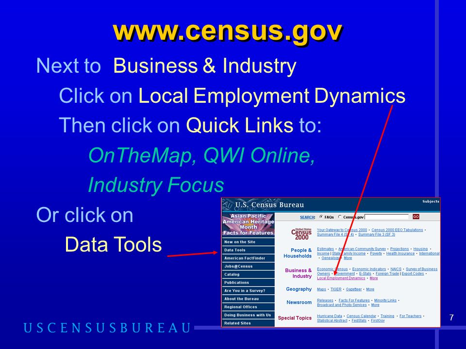 7 www.census.gov Next to Business & Industry Click on Local Employment Dynamics Then click on Quick Links to: OnTheMap, QWI Online, Industry Focus Or