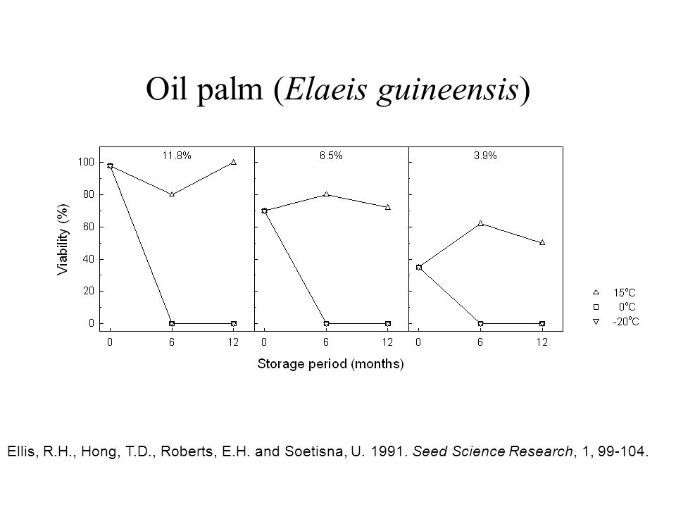 Oil palm (Elaeis guineensis) Ellis, R.H., Hong, T.D., Roberts, E.H. and Soetisna, U. 1991. Seed Science Research, 1, 99-104.