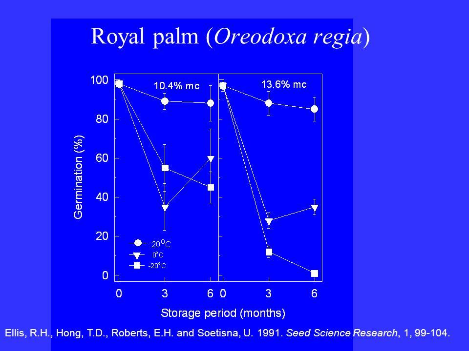 Royal palm (Oreodoxa regia) Ellis, R.H., Hong, T.D., Roberts, E.H. and Soetisna, U. 1991. Seed Science Research, 1, 99-104.