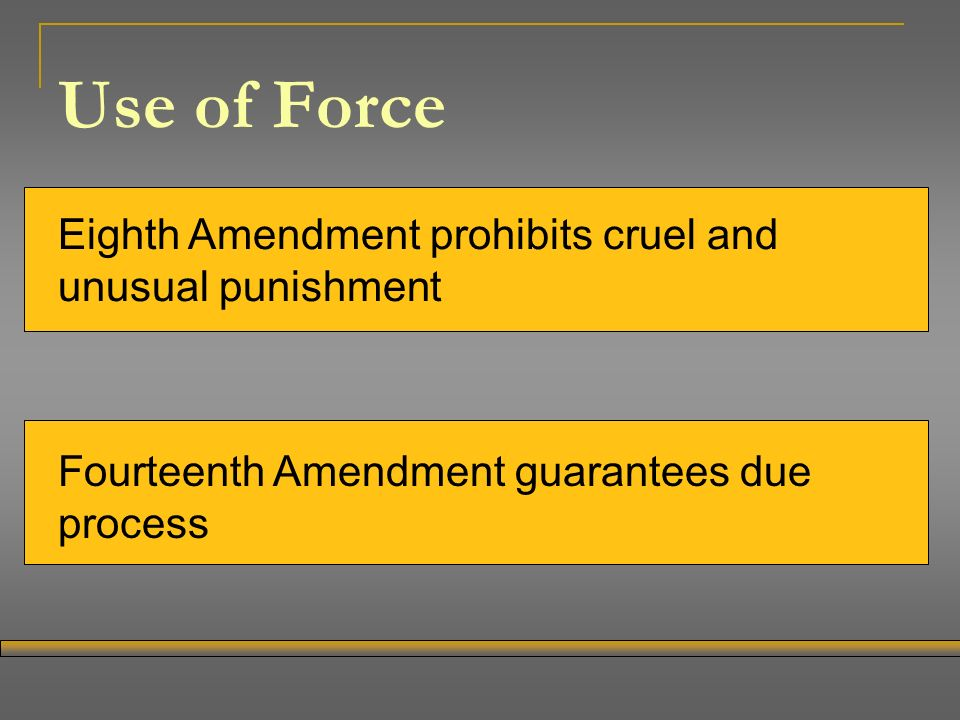 Use of Force Eighth Amendment prohibits cruel and unusual punishment Fourteenth Amendment guarantees due process
