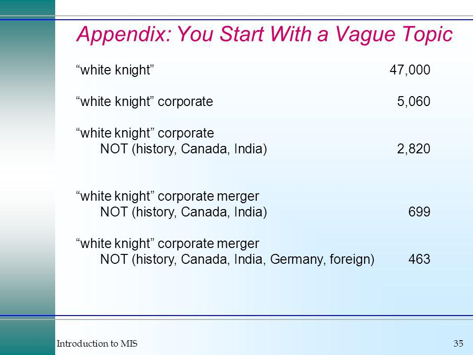 Introduction to MIS35 Appendix: You Start With a Vague Topic white knight47,000 white knight corporate5,060 white knight corporate NOT (history, Canada, India)2,820 white knight corporate merger NOT (history, Canada, India)699 white knight corporate merger NOT (history, Canada, India, Germany, foreign)463