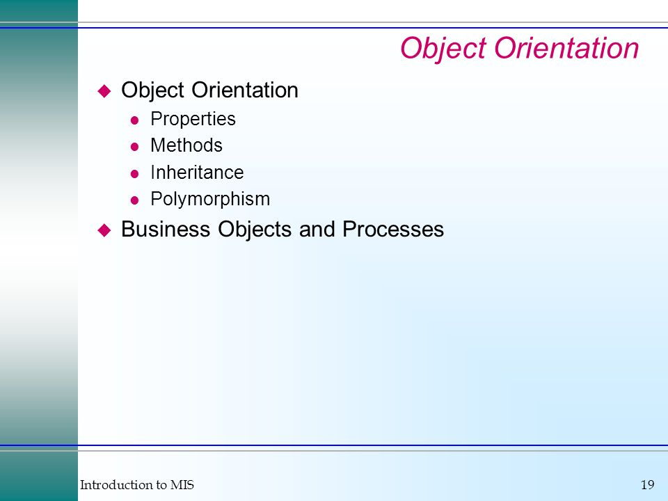 Introduction to MIS19 u Object Orientation l Properties l Methods l Inheritance l Polymorphism u Business Objects and Processes Object Orientation