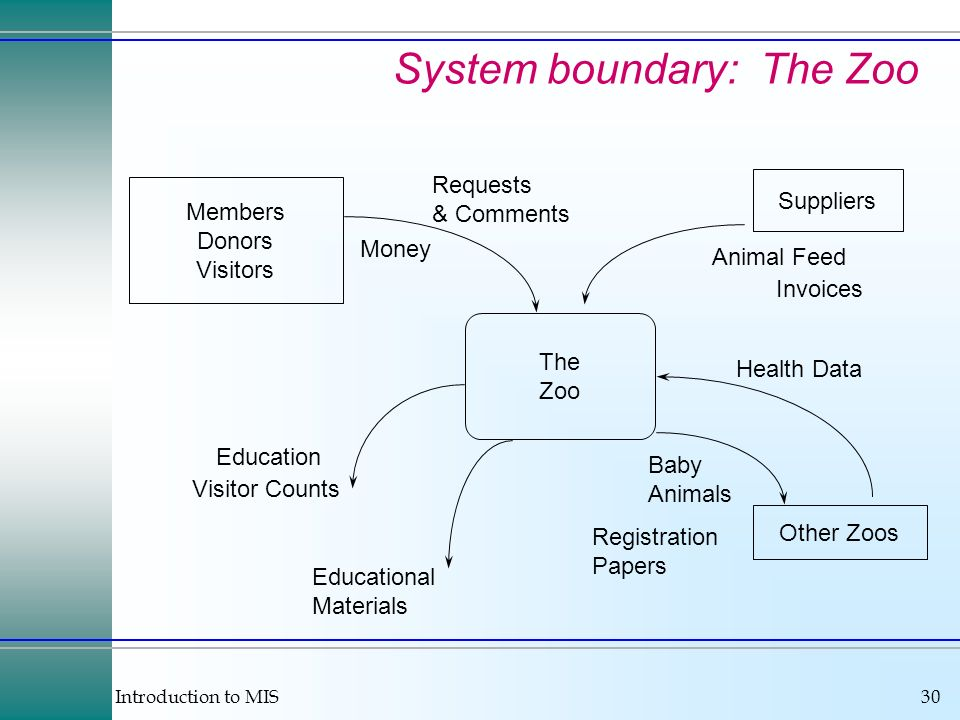 Introduction to MIS30 System boundary: The Zoo Members Donors Visitors Other Zoos Education Visitor Counts Educational Materials Baby Animals Registra