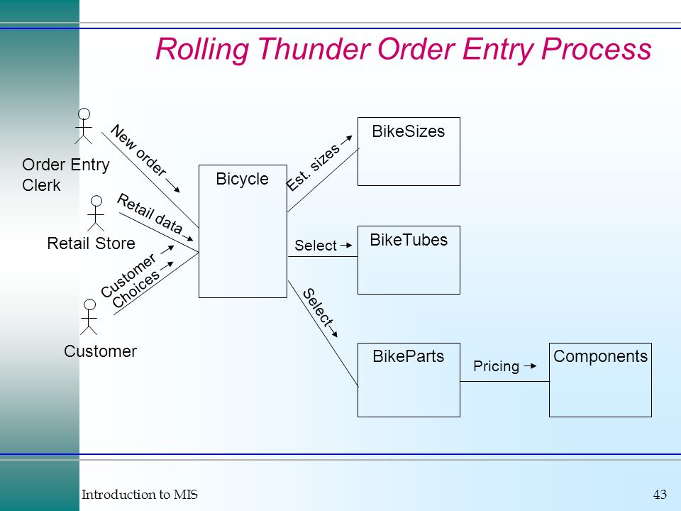 Introduction to MIS43 Rolling Thunder Order Entry Process Bicycle BikeParts BikeTubes Components Order Entry Clerk Customer Retail Store Retail data C
