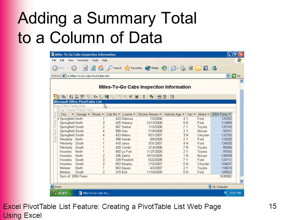 Excel PivotTable List Feature: Creating a PivotTable List Web Page Using Excel 15 Adding a Summary Total to a Column of Data