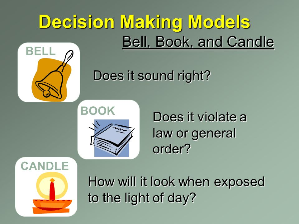 Decision Making Models BELL BOOK CANDLE Bell, Book, and Candle Does it sound right.