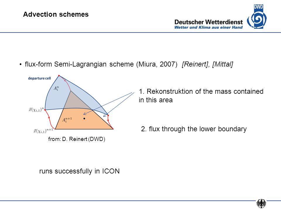flux-form Semi-Lagrangian scheme (Miura, 2007) [Reinert], [Mittal] from: D. Reinert (DWD) Advection schemes 1. Rekonstruktion of the mass contained in