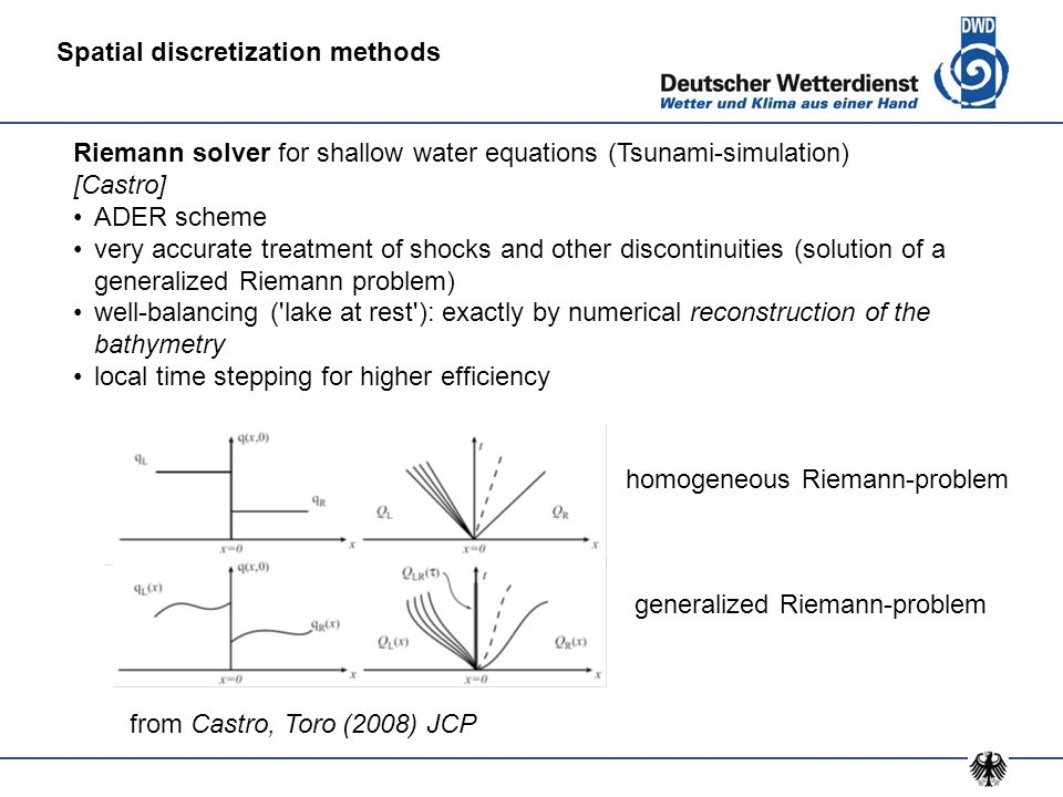 Riemann solver for shallow water equations (Tsunami-simulation) [Castro] ADER scheme very accurate treatment of shocks and other discontinuities (solu