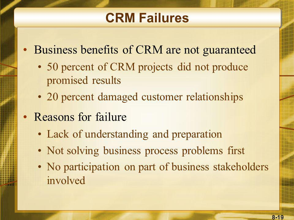 8-19 CRM Failures Business benefits of CRM are not guaranteed 50 percent of CRM projects did not produce promised results 20 percent damaged customer