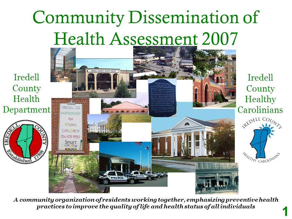 Community Dissemination of Health Assessment 2007 A community organization of residents working together, emphasizing preventive health practices to improve the quality of life and health status of all individuals Iredell County Health Department Iredell County Healthy Carolinians 1