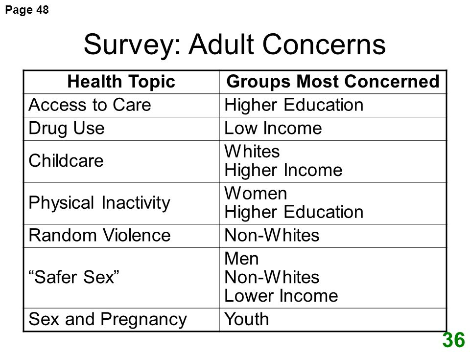 Survey: Adult Concerns Health TopicGroups Most Concerned Access to CareHigher Education Drug UseLow Income Childcare Whites Higher Income Physical Inactivity Women Higher Education Random ViolenceNon-Whites Safer Sex Men Non-Whites Lower Income Sex and PregnancyYouth Page 48 36