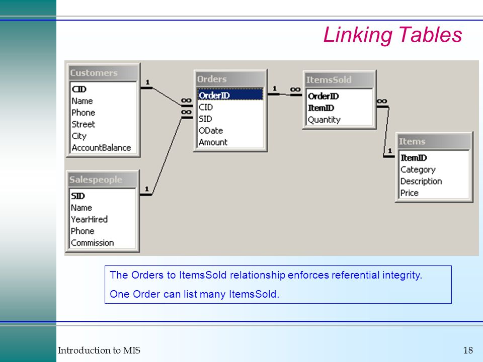 Introduction to MIS18 Linking Tables The Orders to ItemsSold relationship enforces referential integrity.
