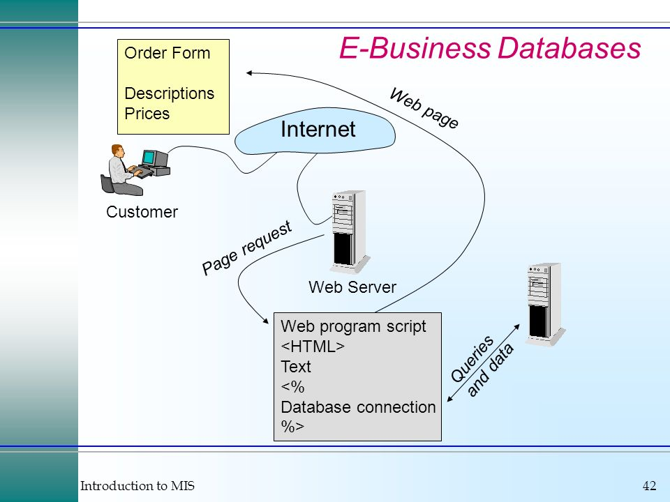 Introduction to MIS42 E-Business Databases Internet Customer Web Server Web program script Text <% Database connection %> Order Form Descriptions Pric