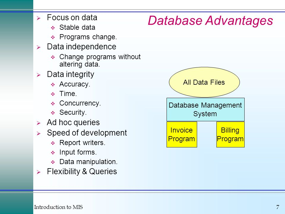 Introduction to MIS7 All Data Files Database Management System Invoice Program Billing Program Database Advantages Focus on data Stable data Programs