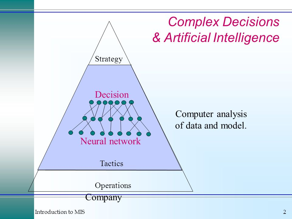 Introduction to MIS2 Computer analysis of data and model.