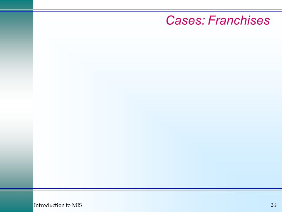 Introduction to MIS26 Cases: Franchises