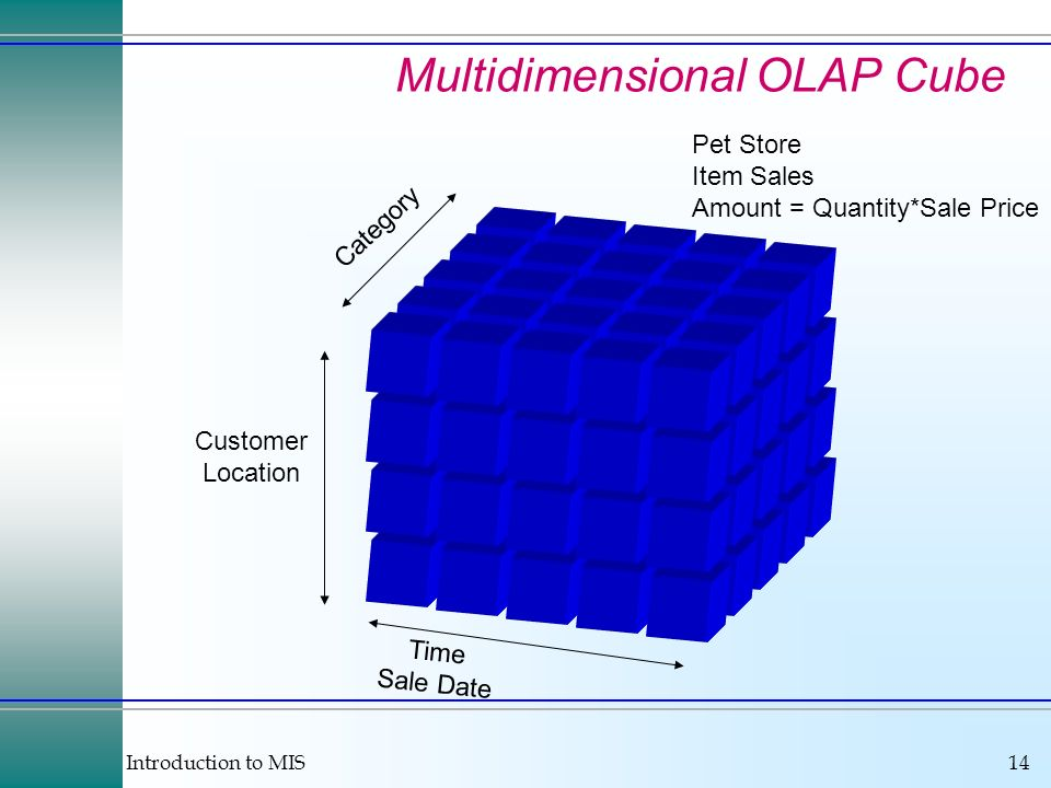 Introduction to MIS14 Multidimensional OLAP Cube Time Sale Date Customer Location Category Pet Store Item Sales Amount = Quantity*Sale Price