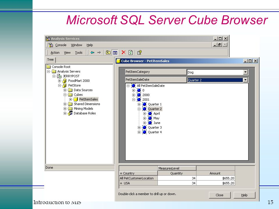 Introduction to MIS15 Microsoft SQL Server Cube Browser