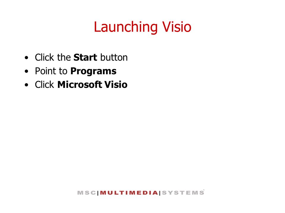 Launching Visio Click the Start button Point to Programs Click Microsoft Visio