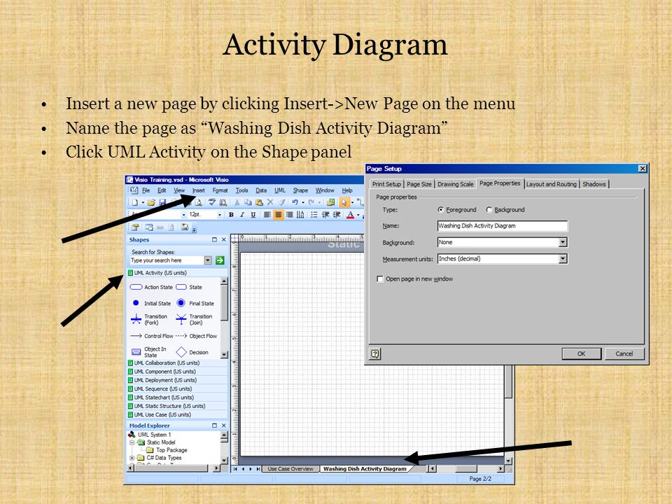 Activity Diagram Insert a new page by clicking Insert->New Page on the menu Name the page as Washing Dish Activity Diagram Click UML Activity on the Shape panel