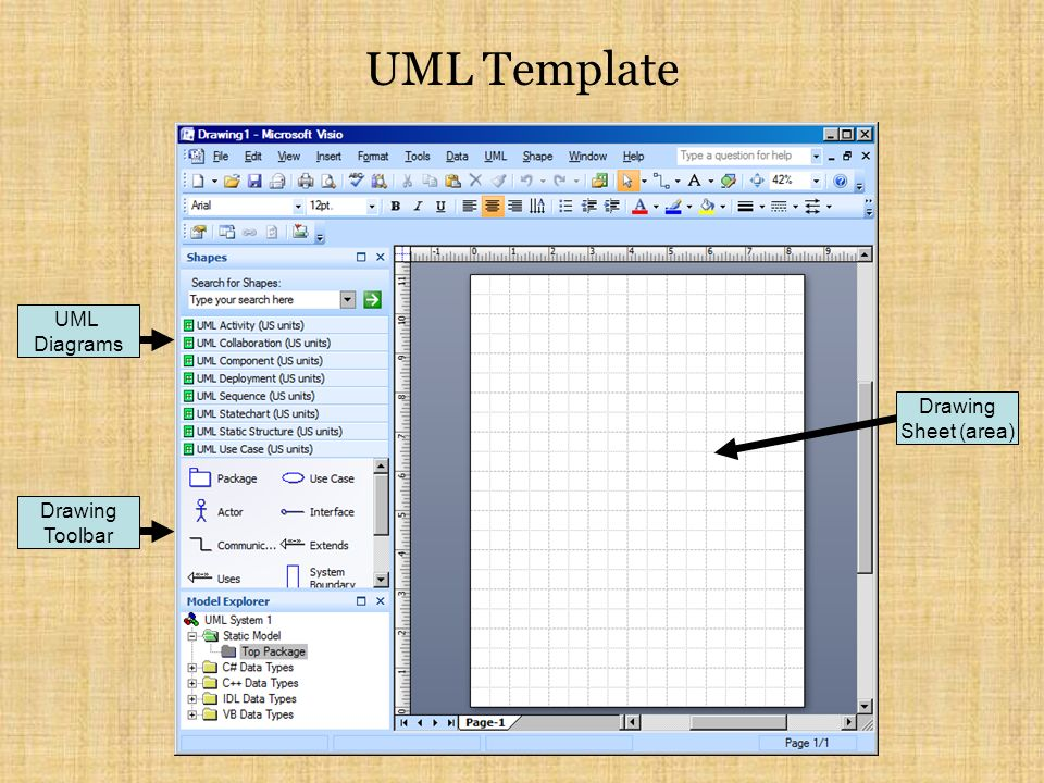 UML Template UML Diagrams Drawing Toolbar Drawing Sheet (area)
