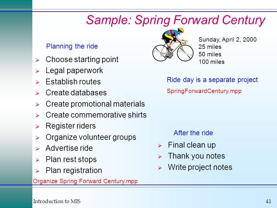 Introduction to MIS41 Sample: Spring Forward Century Sunday, April 2, 2000 25 miles 50 miles 100 miles Choose starting point Legal paperwork Establish