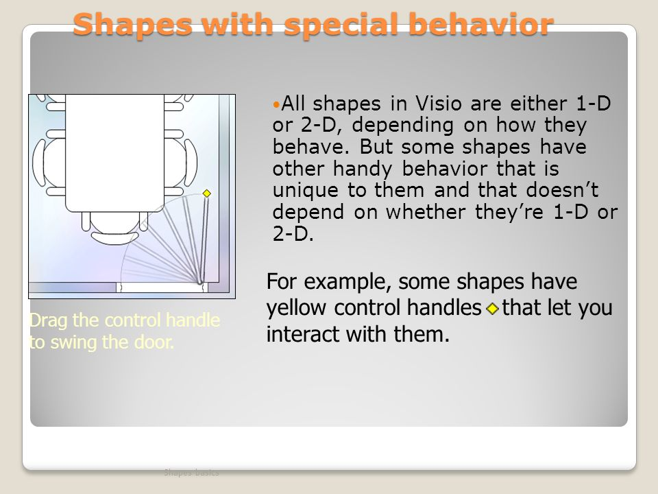 Shapes with special behavior All shapes in Visio are either 1-D or 2-D, depending on how they behave.