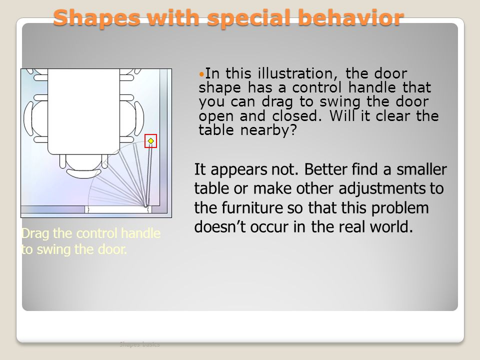 Shapes with special behavior In this illustration, the door shape has a control handle that you can drag to swing the door open and closed.