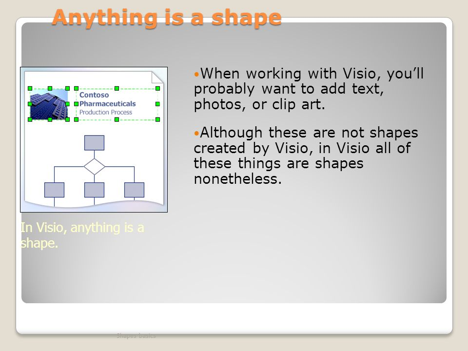 Anything is a shape When working with Visio, youll probably want to add text, photos, or clip art.
