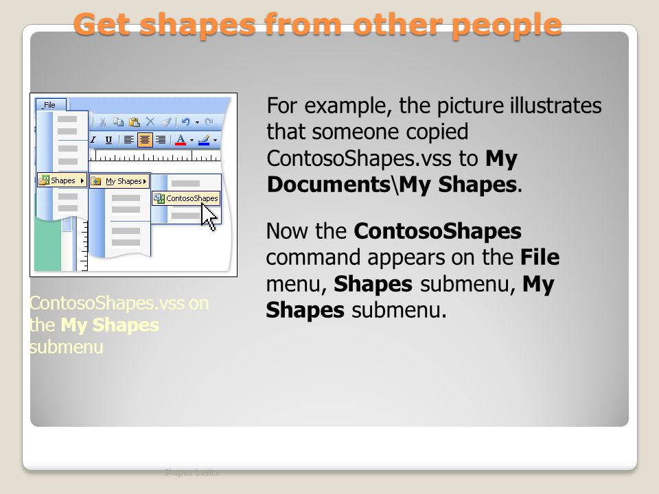 Get shapes from other people Shapes basics ContosoShapes.vss on the My Shapes submenu For example, the picture illustrates that someone copied ContosoShapes.vss to My Documents\My Shapes.