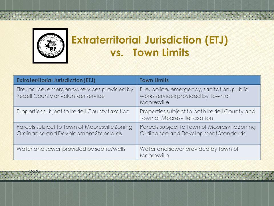 Extraterritorial Jurisdiction (ETJ) vs.