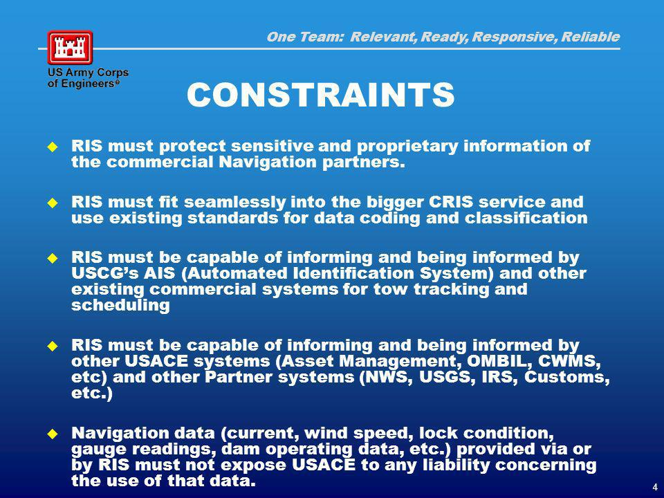 One Team: Relevant, Ready, Responsive, Reliable 4 CONSTRAINTS RIS must protect sensitive and proprietary information of the commercial Navigation partners.