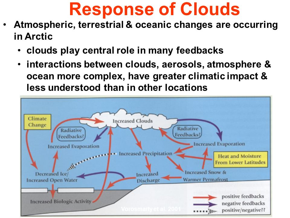Response of Clouds Atmospheric, terrestrial & oceanic changes are occurring in Arctic clouds play central role in many feedbacks interactions between clouds, aerosols, atmosphere & ocean more complex, have greater climatic impact & less understood than in other locations Vorosmarty et al.