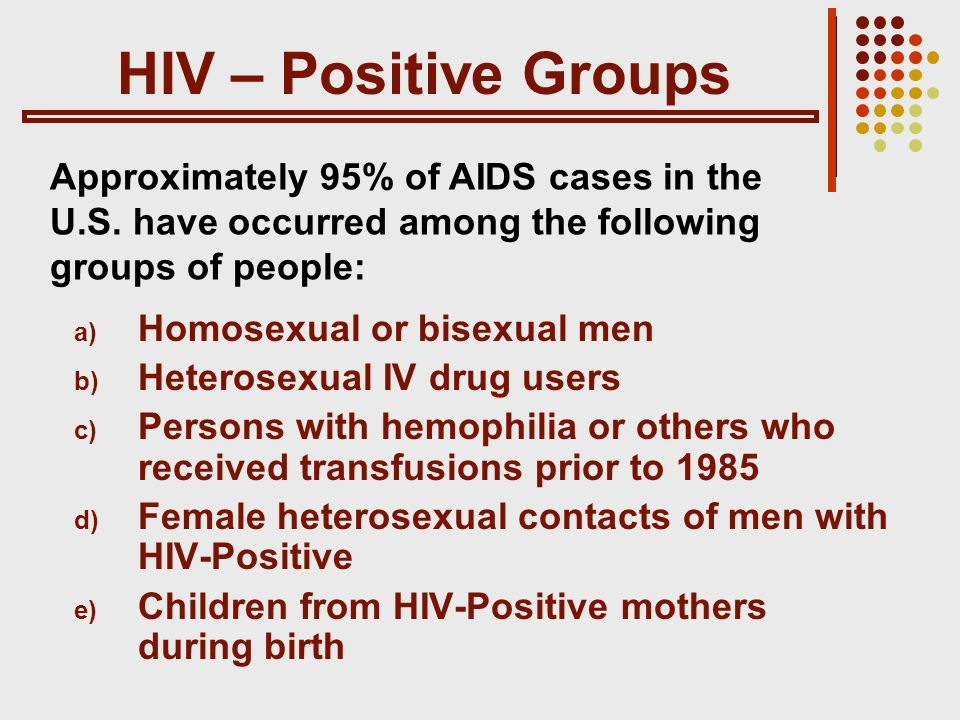 HIV – Positive Groups a) Homosexual or bisexual men b) Heterosexual IV drug users c) Persons with hemophilia or others who received transfusions prior to 1985 d) Female heterosexual contacts of men with HIV-Positive e) Children from HIV-Positive mothers during birth Approximately 95% of AIDS cases in the U.S.