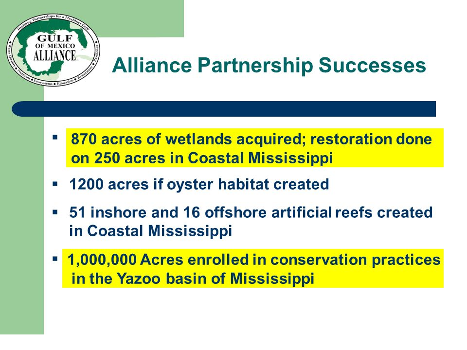 870 acres of wetlands acquired; restoration done on 250 acres in Coastal Mississippi 1200 acres if oyster habitat created 51 inshore and 16 offshore a