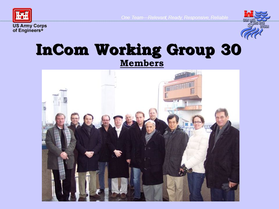 One TeamRelevant, Ready, Responsive, Reliable InCom Working Group 30 Members