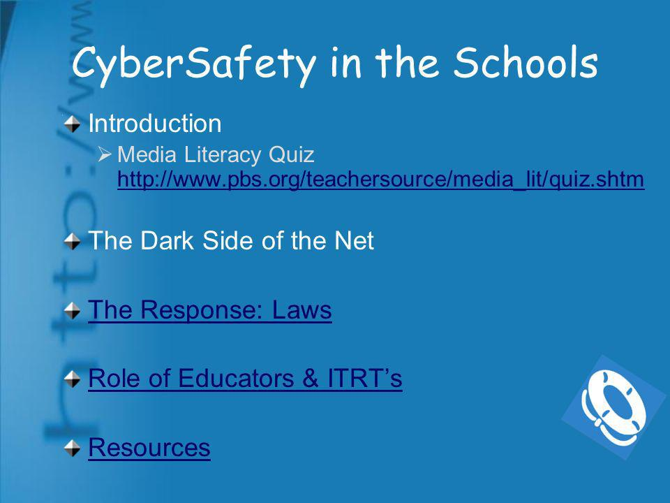 Virginia Internet Safety Law Took effect July 1, 2006 Additions to AUP provisions Guidelines from VDOE due out in next few weeks Who will teach Internet Safety.