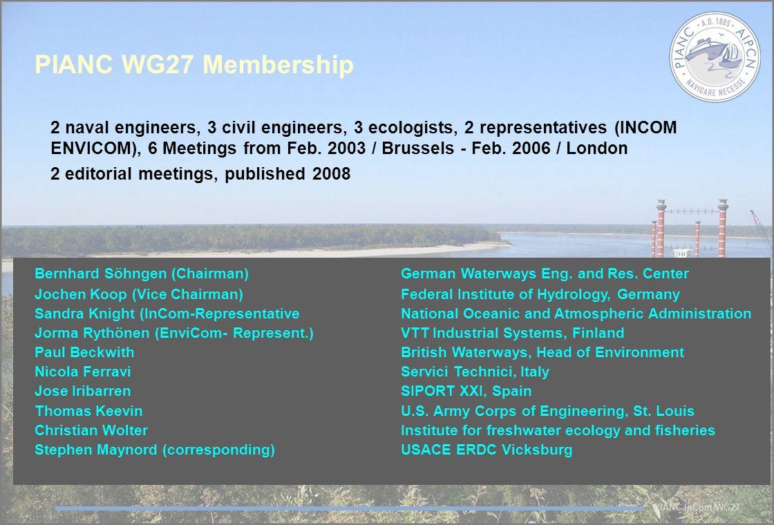 PIANC-InCom-WG27 PIANC WG27 Membership 2 naval engineers, 3 civil engineers, 3 ecologists, 2 representatives (INCOM ENVICOM), 6 Meetings from Feb.