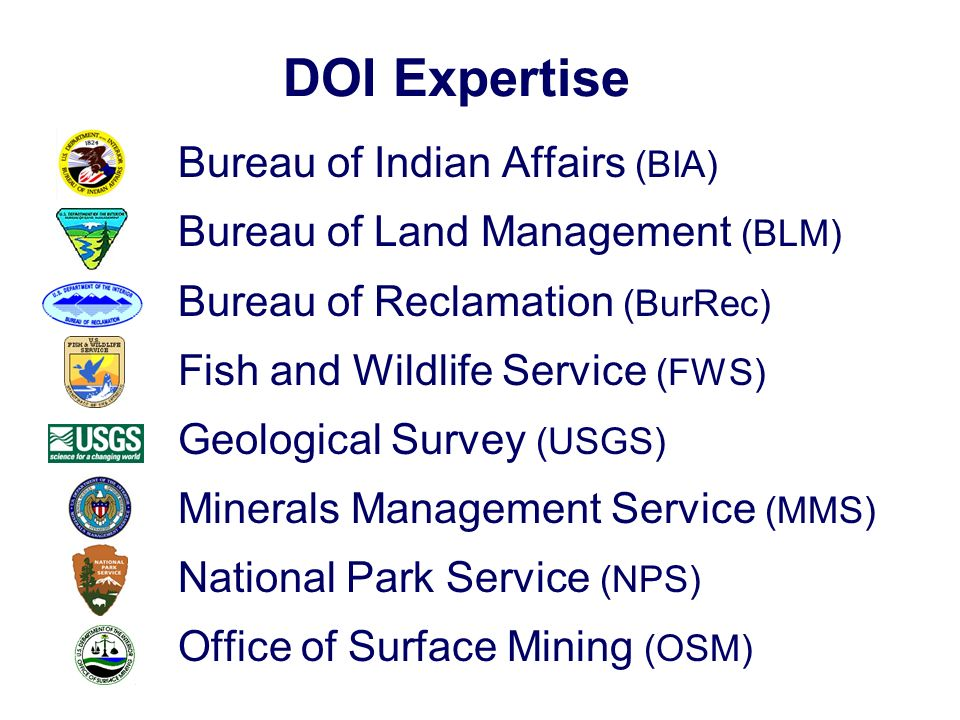 DOI Expertise Bureau of Indian Affairs (BIA) Bureau of Land Management (BLM) Bureau of Reclamation (BurRec) Fish and Wildlife Service (FWS) Geological Survey (USGS) Minerals Management Service (MMS) National Park Service (NPS) Office of Surface Mining (OSM)