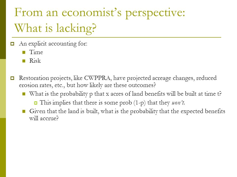 From an economists perspective: What is lacking.