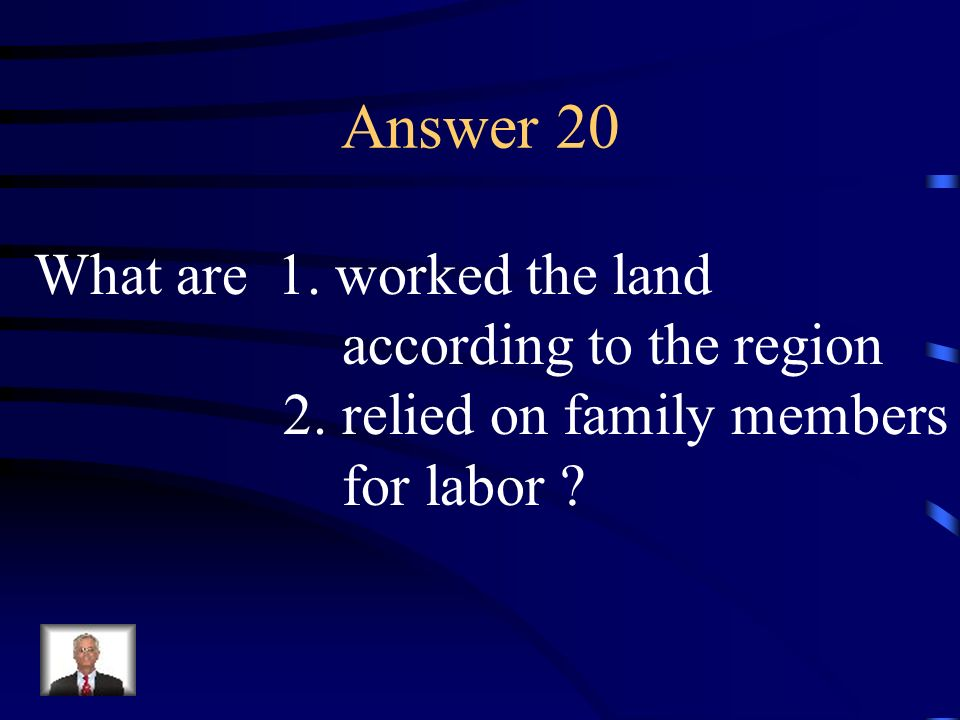 Question 20 Describe the characteristics of a farmer in colonial times.