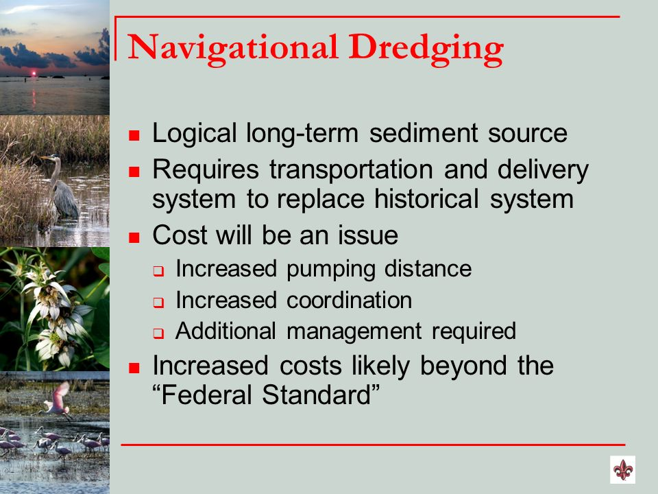 Navigational Dredging Logical long-term sediment source Requires transportation and delivery system to replace historical system Cost will be an issue