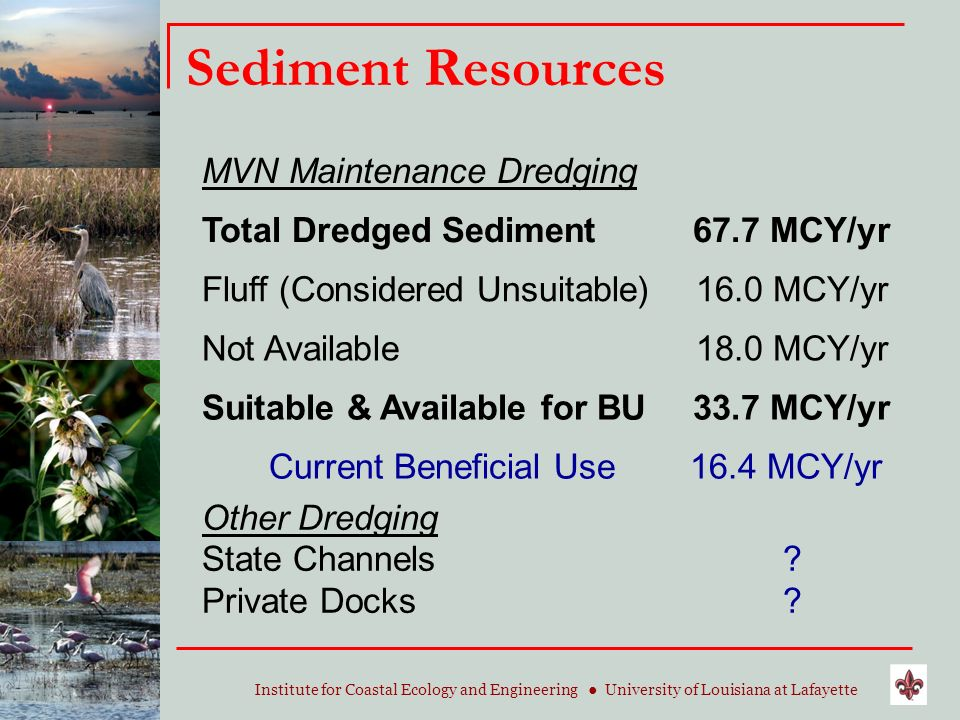 Institute for Coastal Ecology and Engineering University of Louisiana at Lafayette Sediment Resources MVN Maintenance Dredging Total Dredged Sediment6