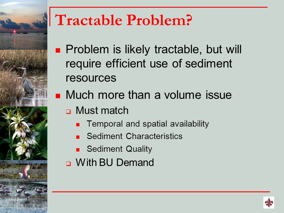 Tractable Problem? Problem is likely tractable, but will require efficient use of sediment resources Much more than a volume issue Must match Temporal