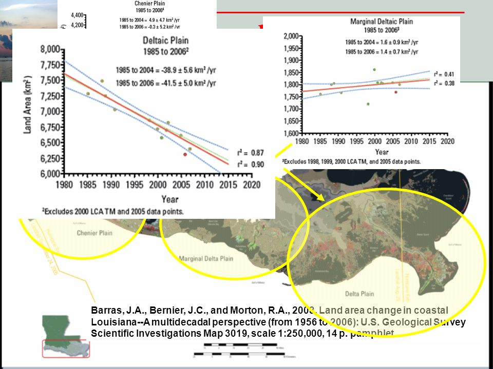 Louisiana Land Loss (1956 to 2006) Barras, J.A., Bernier, J.C., and Morton, R.A., 2008, Land area change in coastal Louisiana--A multidecadal perspective (from 1956 to 2006): U.S.