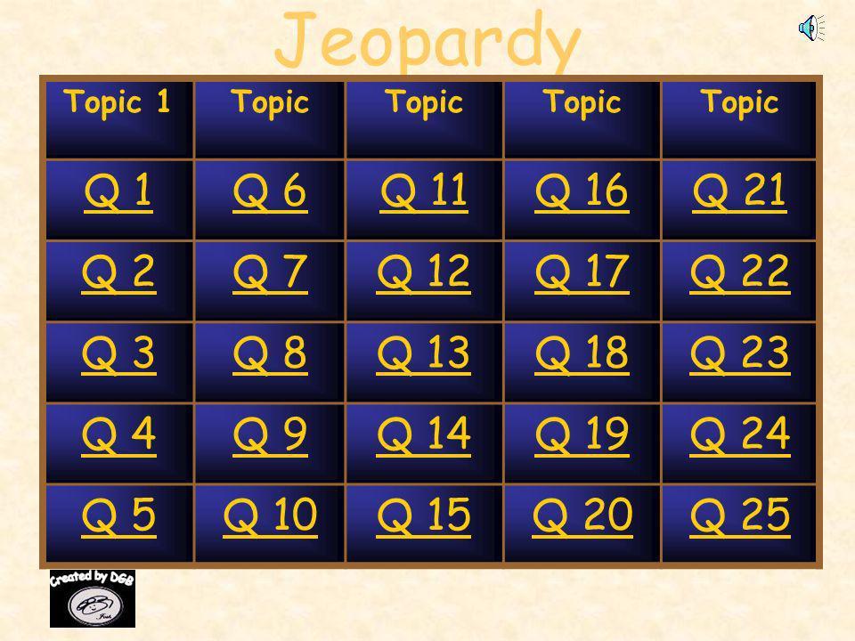 Jeopardy Topic 1Topic Q 1Q 6Q 11Q 16Q 21 Q 2Q 7Q 12Q 17Q 22 Q 3Q 8Q 13Q 18Q 23 Q 4Q 9Q 14Q 19Q 24 Q 5Q 10Q 15Q 20Q 25